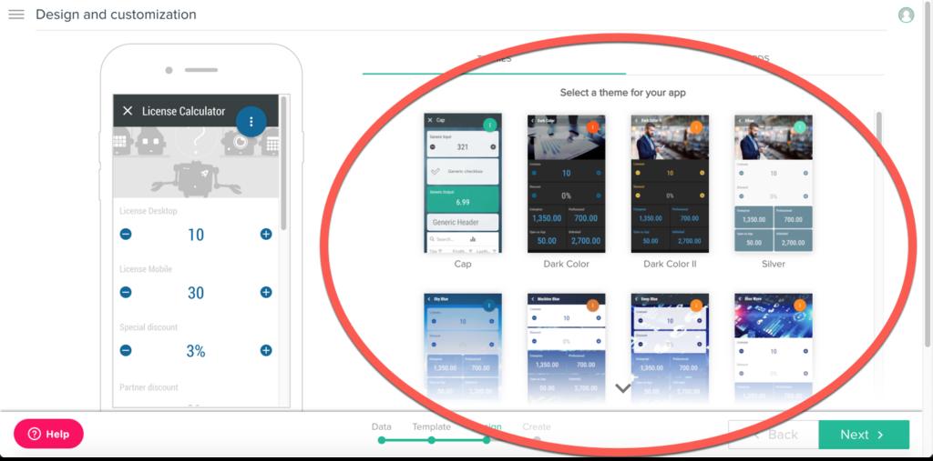 Schritt 4: Wählen Sie ein Design für Ihre App