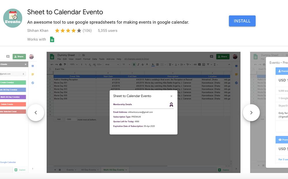 Sheet to Calendar Evento