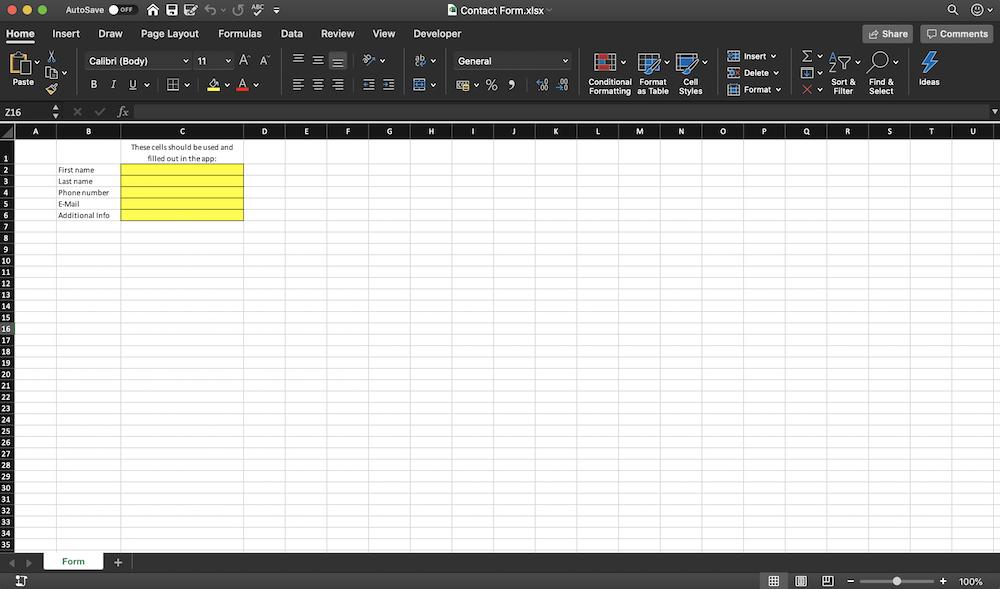 Contact Form App Excel