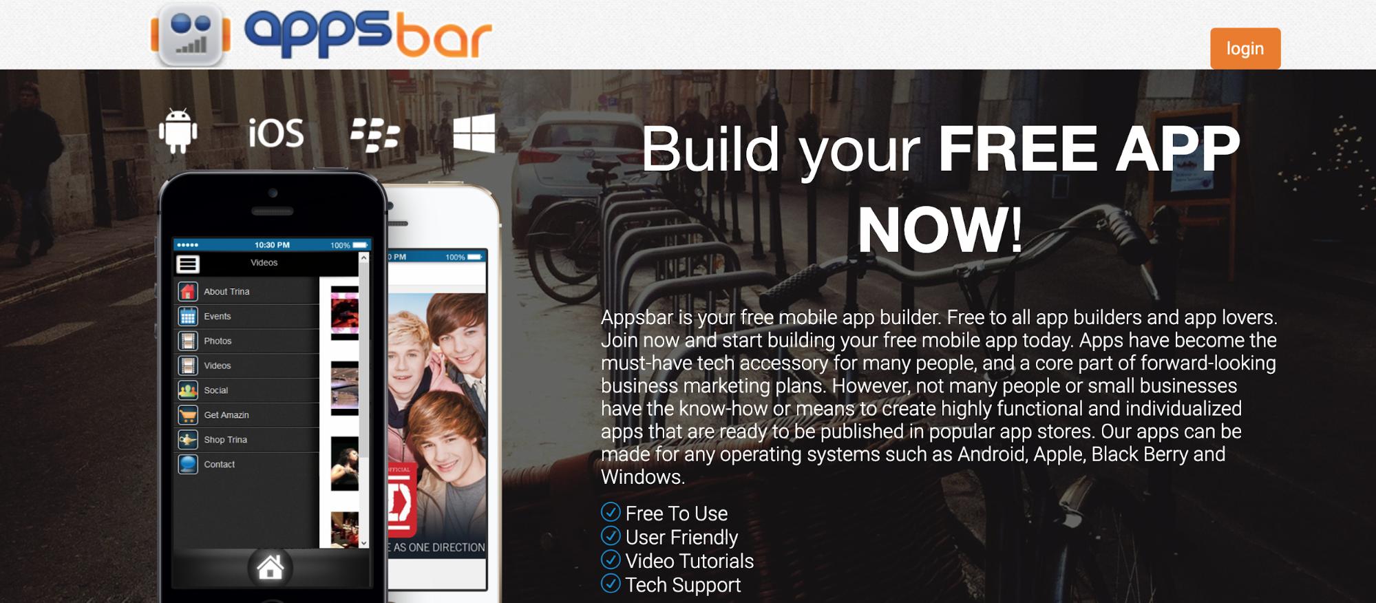 Apps Bar Automatische App-Erstellung