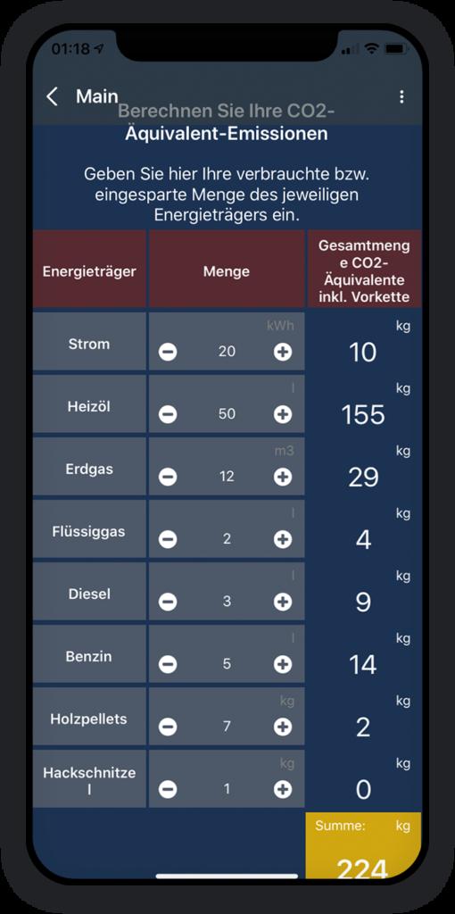 Co2 Emissionen Berechnung App 2