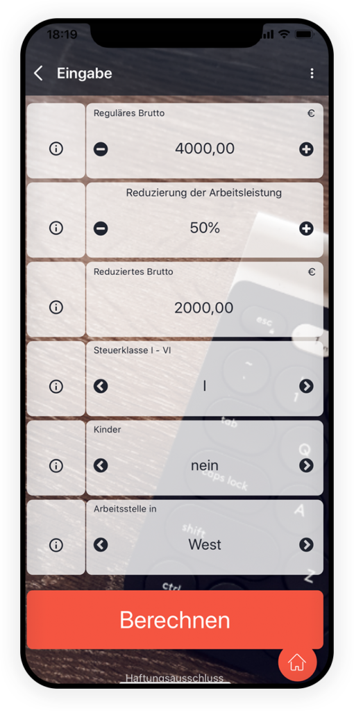 Kurzarbeitrechner app 2