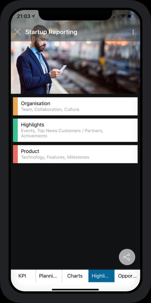 Startup-Berichterstattung App 4