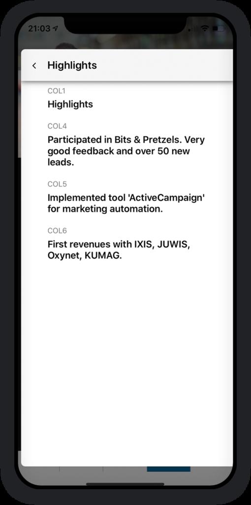 Startup-Berichterstattung App 5