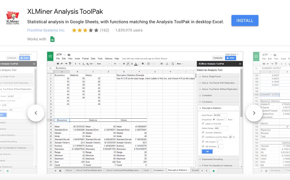 XLMiner Analysis ToolPak