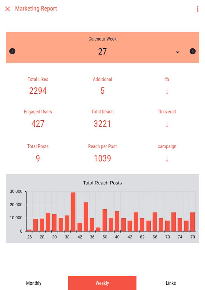 Marketing Bericht App Analyse des inhaltlichen Engagements