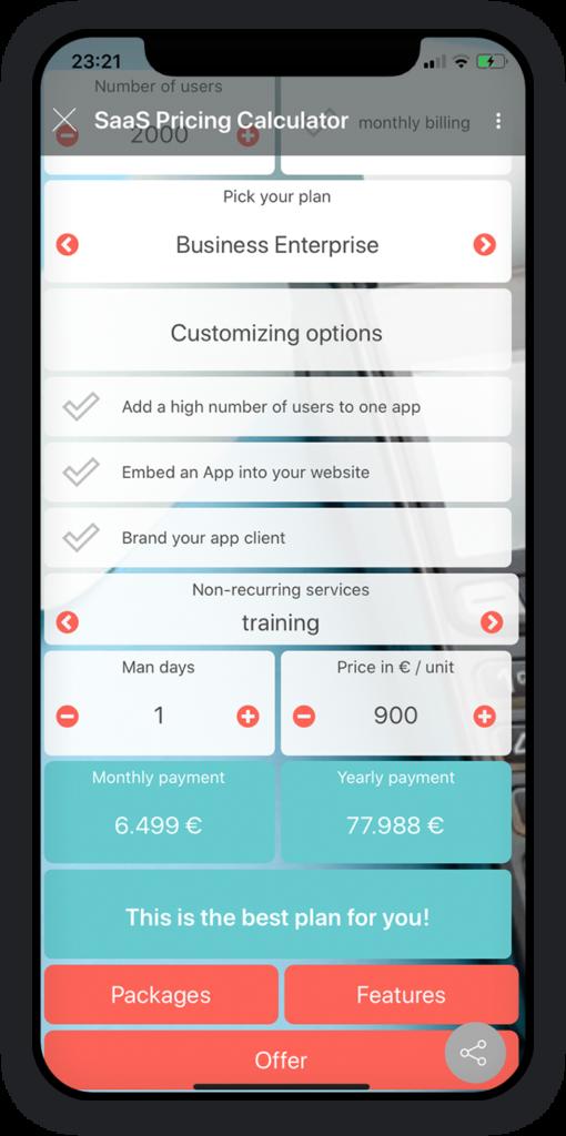 SaaS Pricing Calculator app