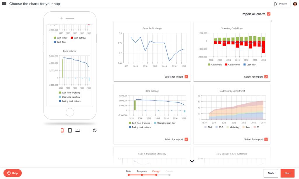 financial app charts