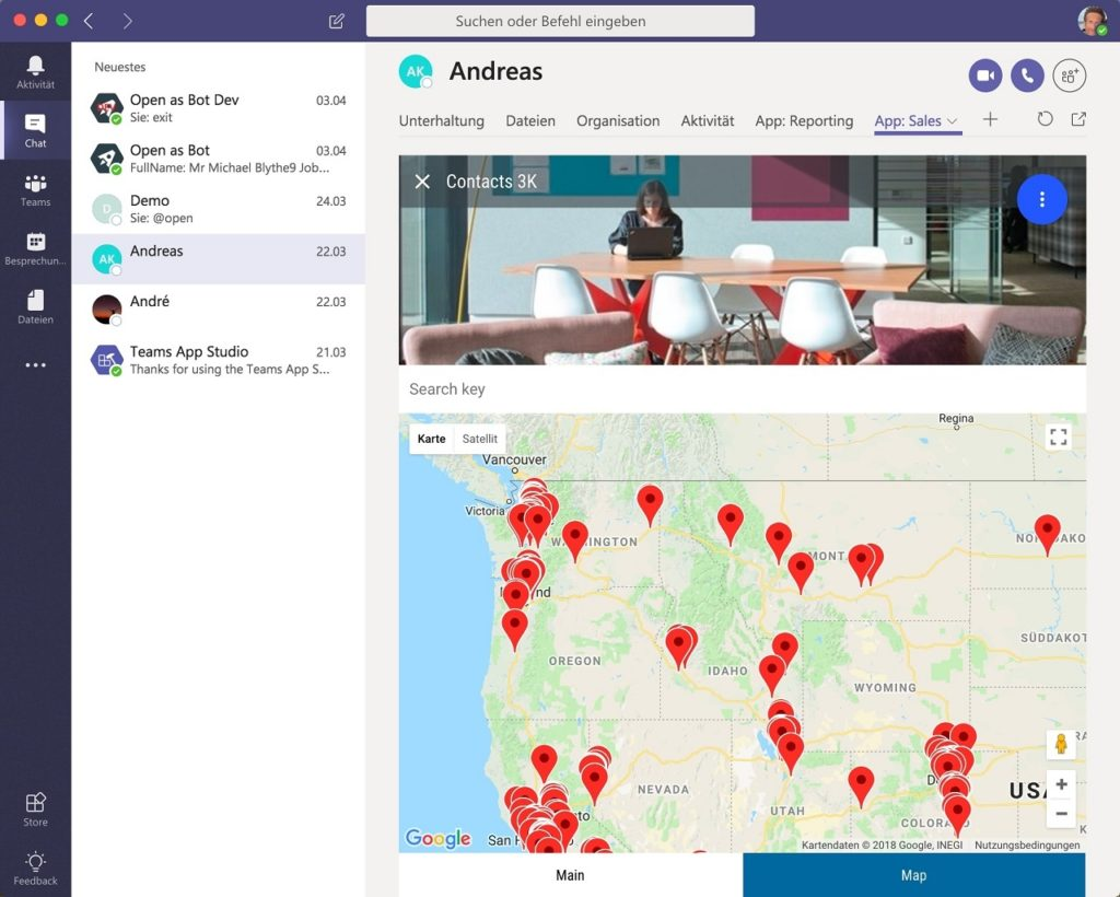 map apps in Microsoft Teams
