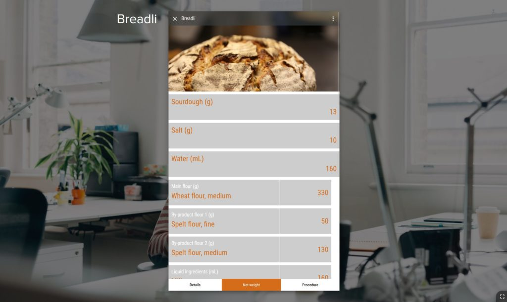 Create individual recipies for bread baking